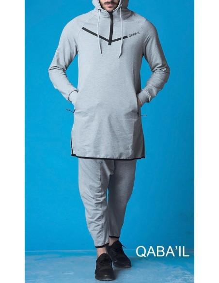 Ensemble Qamis Court Legend Gris-Qaba'il