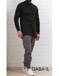 Sweat Longline Noir et gris -Qaba'il