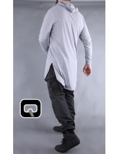Tee Shirt Manches Longues Gris Clair-Qaba'il