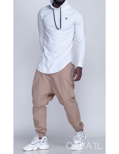 Tee shirt manches longues qaba'il blanc
