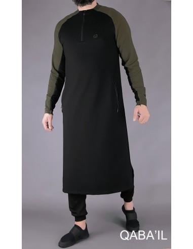 Qamis Long Line Noir/Kaki -Qaba'il