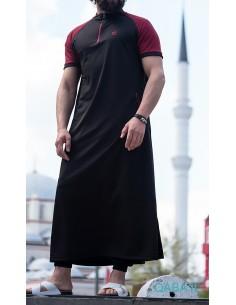 Qamis Longline Manches courtes Noir/Rouge-Qaba'il