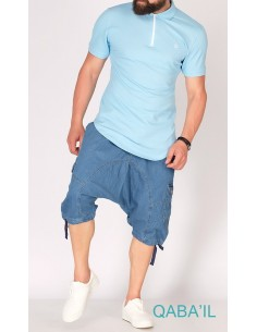 Sarouel Short Bleu Délavé -Qaba'il