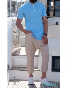 Polo Zip Bleu Ciel-Qaba'il