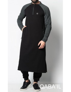 Qamis Long Line Noir et Gris-Qaba'il