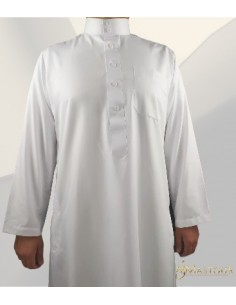Qamis Saoudien Blanc Satiné-Zein
