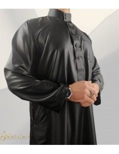 Qamis Saoudien Noir Satiné- Zein