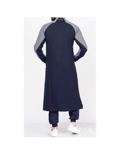 Qamis Long Line Bleu Et Gris - Qaba'il