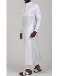 Qamis Eminence Long Blanc / Argent - Qaba'il