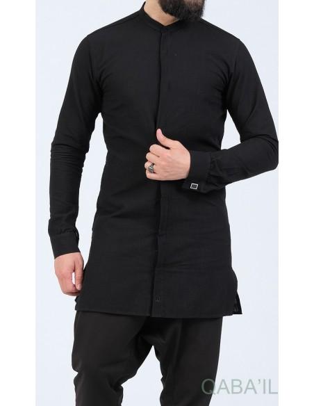 Chemise Ultrat Légere Col Officier Noir - Qaba'il