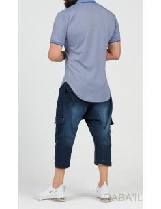 Polo Zip UP Bleu Jean - Qaba'il