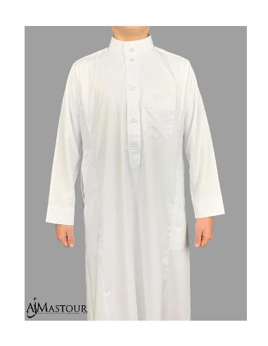 Qamis Saoudien Enfant Blanc Satiné - Al Haramain